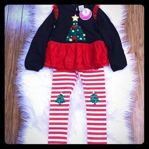 Christmas Tree Peplum Top with Striped Leggings